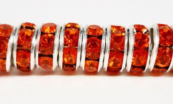 Rhinestone Rondelle Beads 6mm Deep Orange Silver Plated Metal Acrylic Rhinestone Crystal Spacer Beads 50 Loose Beads per Pack