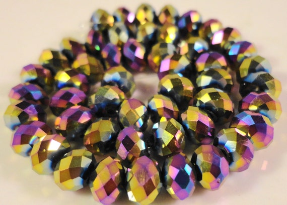 Rondelle Crystal Beads 6x4mm (4x6mm) Metallic Multicolor Mardi Gras Faceted Chinese Crystal Beads on a 8 1/2 Inch Strand with 49 Beads