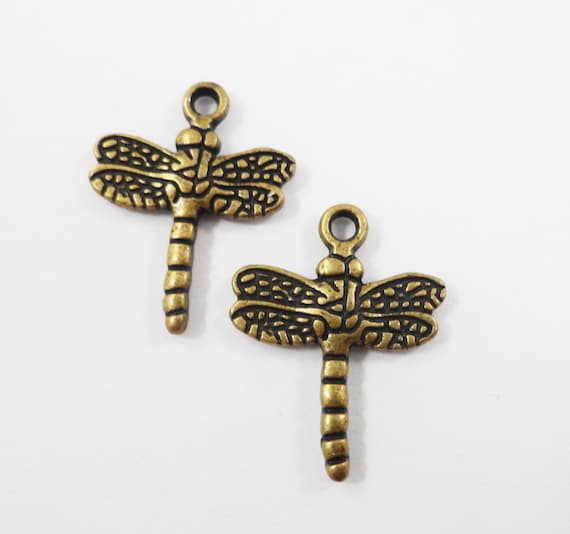 Bronze Dragonfly Charms 20x15mm Antique Brass Dragonfly Pendants, Insect Charms, Bug Charms, Metal Charms for Jewelry Beading Supplies 10pcs