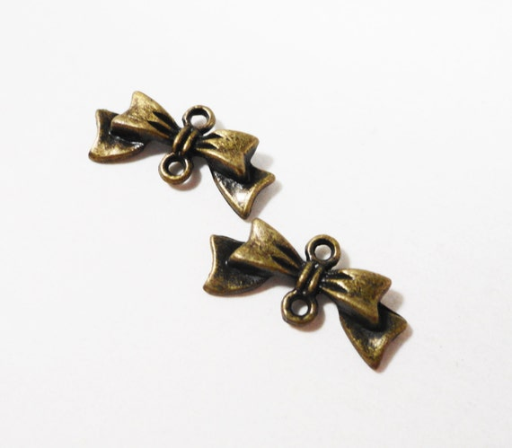 Bronze Bow Connector Charms 20x9mm Antique Brass Bow Charms, Bow Connector Pendants, Hair Bow Charms, Earring Jewelry Findings, 10pcs