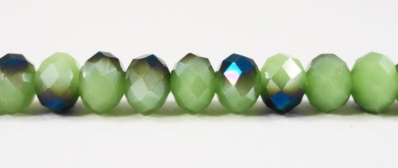 "Crystal Beads, Green Rondelle Beads, 6x4mm Frosted Jade Green Half Metallic Blue Chinese Crystal Glass Beads on a 9"" Strand with 50 Beads"