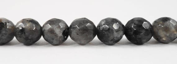 "Faceted Larvikite Beads 8mm Faceted Round Larvikite Stone Beads, Gray and Black Labradorite Gemstone Beads on a 7"" Strand with 22 Beads"