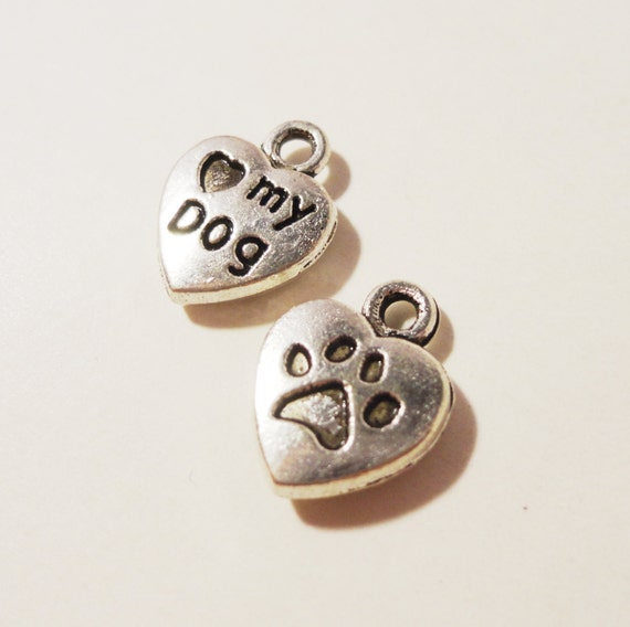 Dog Tag Charms 13x10mm Antique Silver Metal Small Heart Shaped Love My Dog Paw Print Pet Animal Charm Pendant Jewelry Making Findings 10pcs