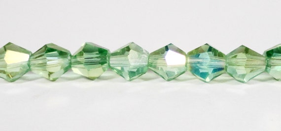 """Bicone Crystal Beads 6mm Peridot Green AB Faceted Chinese Crystal Glass Beads for DIY Jewelry Making on an 11 1/2"""" Strand with 50 Beads"""