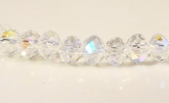 Rondelle Crystal Beads 4x3mm Clear AB Faceted Tiny Chinese Crystal Glass Beads 98 Loose Beads per Pack