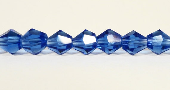 """Bicone Crystal Beads 6mm Cobalt Blue Faceted Chinese Crystal Glass Beads for Jewelry Making on an 11 1/2"""" Strand with 50 Beads"""