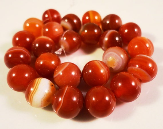 Striped Agate Gemstone Beads 8mm Round Orange Striped Carnelian Agate Stone Beads for Jewelry Making on a 7 1/4 Inch Strand with 23 Beads