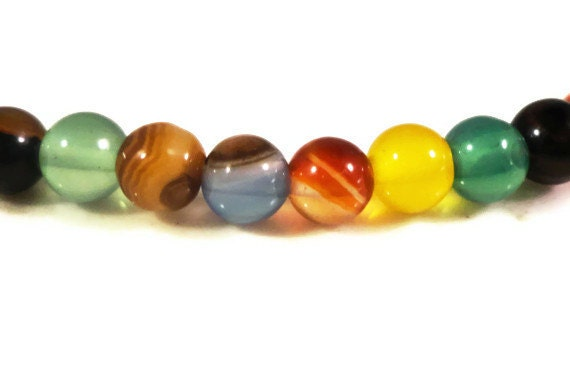 Agate Gemstone Beads 4mm Round Multicolor Dyed Semiprecious Stone Beads for Jewelry Making 45 Small Loose Beads per Pack