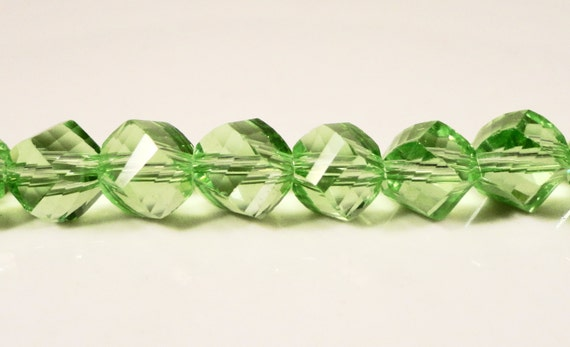 Helix Crystal Beads 8mm Peridot Green Faceted Chinese Crystal Glass Beads for Jewelry Making on a 9 1/2 Inch Strand with 33 Beads