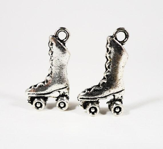 Silver Roller Skate Charms 20x11mm Antique Silver Metal Roller Derby Charms, Skate Charm, Skating Charms, 3D Rollerskate Pendants 10pcs