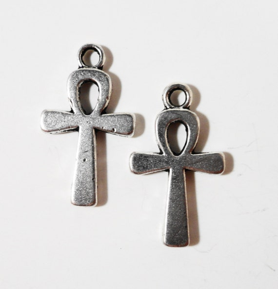 Ankh Cross Charms 21x12mm Antique Silver Metal Cross Pendants Religious Charms Ancient Egyptian Cross Charms Jewelry Making Supplies 10pcs