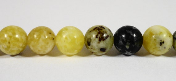"""Serpentine Gemstone Beads 6mm Round Green-Yellow Turquoise Beads, Natural Black and Yellow Stone Beads on a 7 1/2"""" Strand with 31 Beads"""
