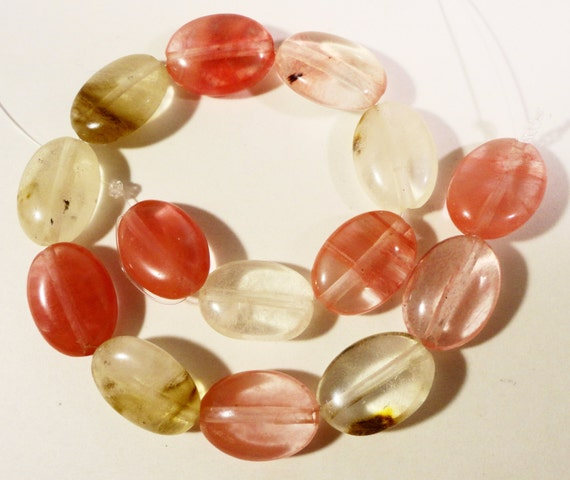 Watermelon Tourmaline Quartz Gemstone Beads 14x10mm (10x14mm) Flat Oval Multi Color Stone Beads on a 7 1/2 Inch Strand with 14 Beads