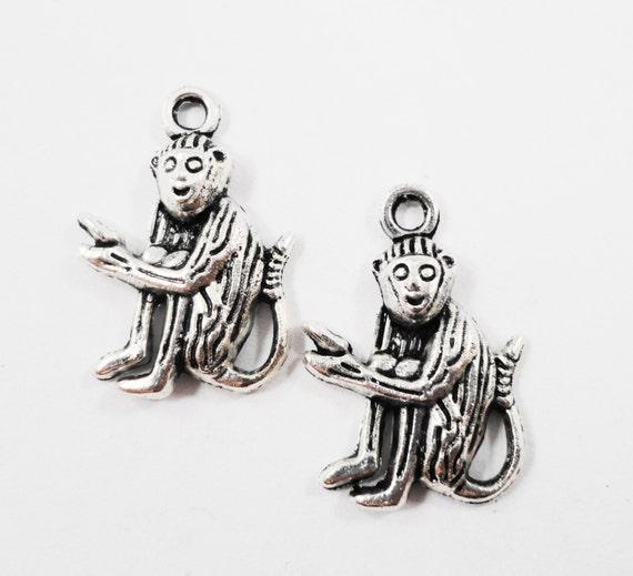 Silver Monkey Charms 20x14mm Antique Silver Monkey Pendants, Jungle Animal Charms, Chimpanzee Charms, Chimp Charms, Metal Charms, 10pcs