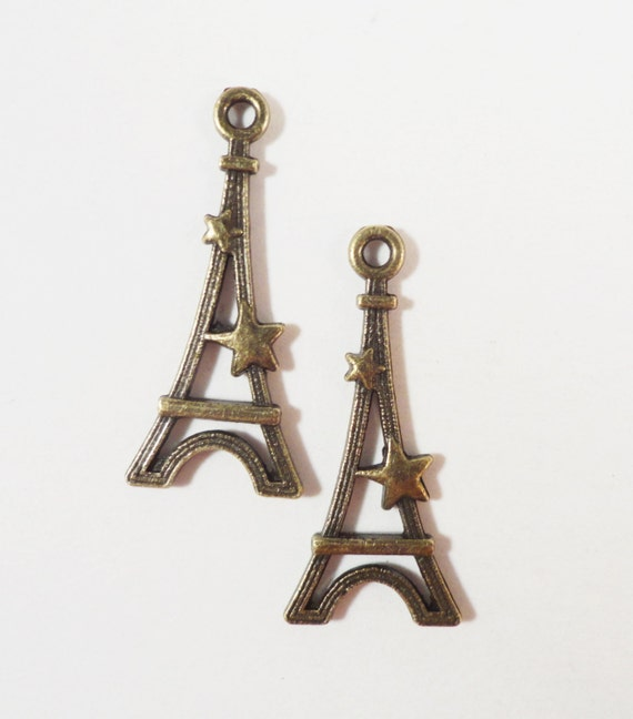 Eiffel Tower Charms 29x13mm Antique Brass Metal (Bronze) Paris France Building Tower Pendants, Jewelry Making Findings, Craft Supplies 10pcs