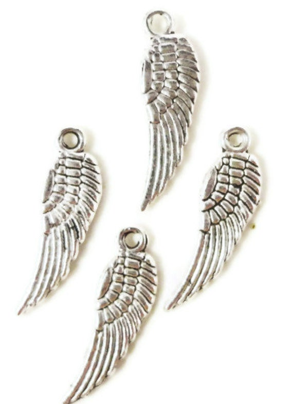 Silver Wing Charms 5x17mm Antique Silver Tone Metal Small Wing Feather Charm Pendant Lead Free Nickel Free Jewelry Findings 15pcs