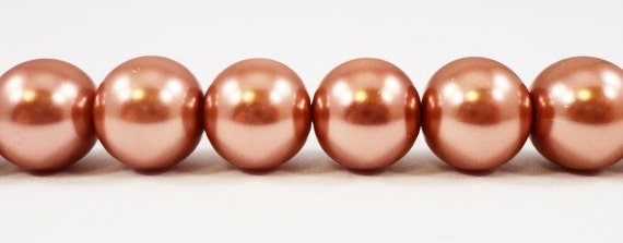 """Brown Pearl Beads 10mm Round Glass Pearl Beads, Light Brown Crystal Pearl Beads, Imitation Pearl Beads on a 7 1/4"""" Strand with 20 Beads"""