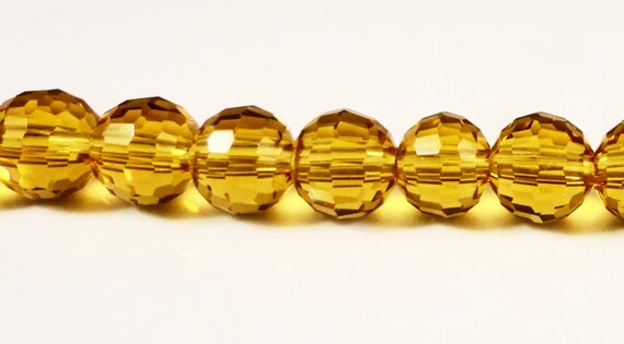Yellow Crystal Beads 6mm Round Topaz Yellow Disco Ball Style Faceted Chinese Crystal Beads on a 7 Inch Strand with 33 Beads