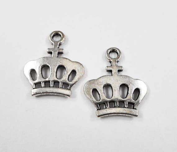 Silver Crown Pendants 24x20mm Antique Silver Crown Charms, Metal Charms, King Crown Charms, Cross Crown Charms, Queen Charms, 10pcs