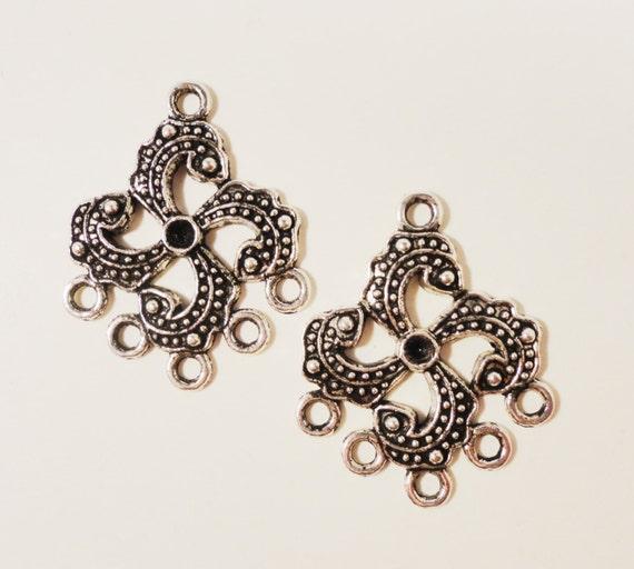 Silver Chandelier Earring Findings 31x25mm Antique Silver Metal 5 to 1 Earring Connector Tibetan Silver Jewelry Making Jewelry Findings 6pcs