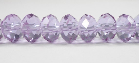 "Alexandrite Crystal Beads 10x7mm (7x10mm) Light Purple Crystal Rondelle Beads, Chinese Crystal Glass Beads on a 6 1/4"" Strand with 24 Beads"
