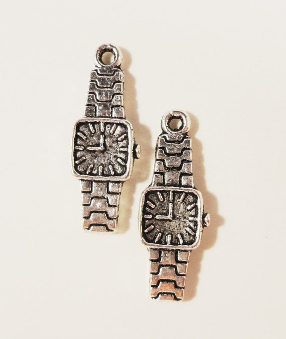 Silver Watch Charms 22x8mm Antique Tibetan Silver Metal Timepiece Time Clock Charm Pendant Jewelry Making Jewelry Findings 10pcs