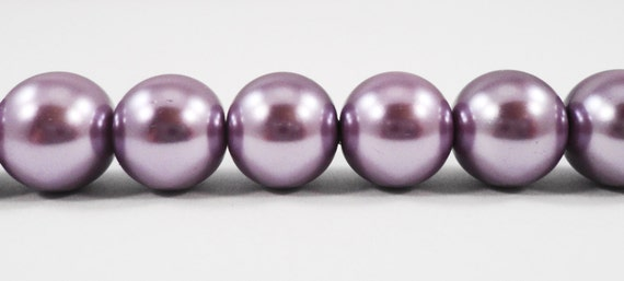 "Crystal Pearl Beads 10mm Round Glass Pearl Beads, Lilac Purple Pearl Beads, Imitation Pearl Beads on a 7 1/2"" Strand with 20 Beads"