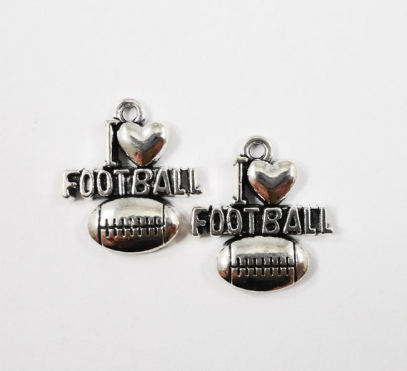 I Love Football Charms 17x20mm Antique Silver Football Charms, I Heart Football Charms, Football Pendants, Sport Charms, Silver Charms, 10pc