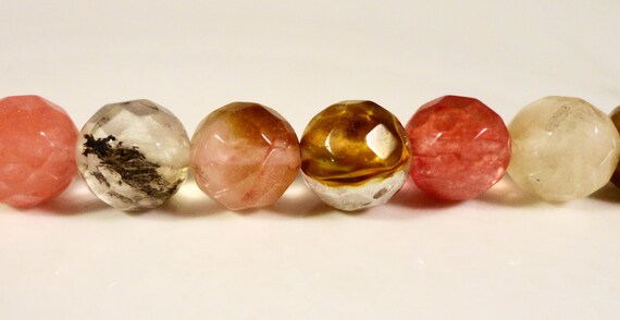 Watermelon Tourmaline Quartz Gemstone Beads 10mm Faceted Round Multicolor Stone Beads for Jewelry Making on a 7 Inch Strand with 18 Beads