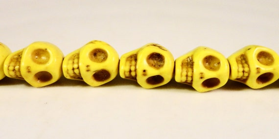 Yellow Skull Beads 10x8mm Dyed Howlite Gemstone Beads Stone Halloween Day of the Dead Skeleton Beads on a 7 1/2 Inch Strand with 20 Beads