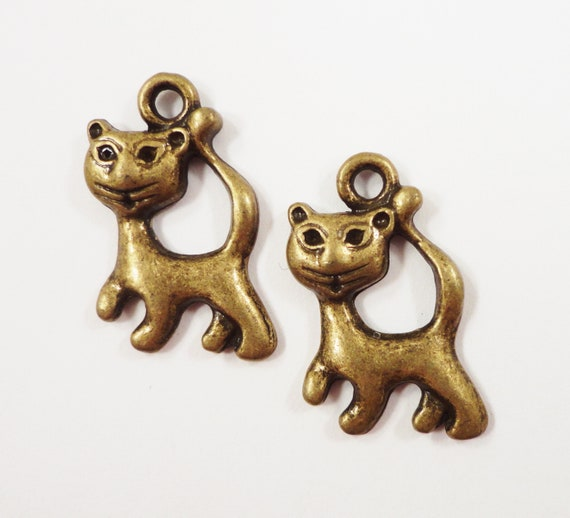 Bronze Cat Charms 23x12mm Antique Brass Cat Charms, Metal Bronze Charms, Bronze Cat Pendants, Animal Charms, Kitty Charms Feline Charms 10pc
