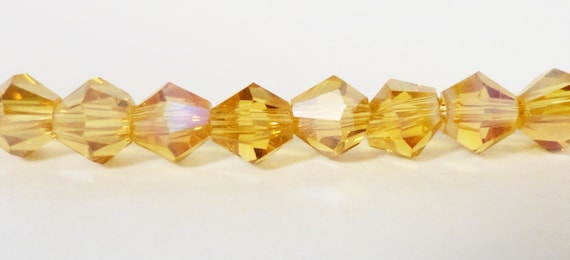 Bicone Crystal Beads 4mm Topaz Yellow AB Small Faceted Chinese Crystal Glass Beads for Jewelry Making 100 Loose Beads per Pack