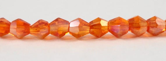 Crystal Bicone Beads 3mm Crystal Beads, Orange AB Crystal Beads, Tiny Faceted Chinese Crystal Glass Beads for Jewelry Making 100 Loose Beads