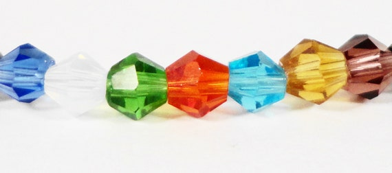 Bicone Crystal Beads 3mm Mixed Multicolor Tiny Faceted Chinese Crystal Glass Beads for Jewelry Making 100 Loose Beads per Package