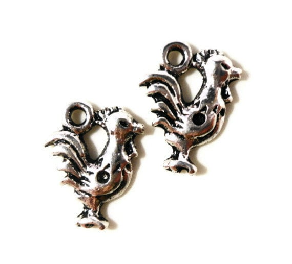 Silver Rooster Charms 14x11mm Antique Silver Metal Chicken Charms Farm Animal Charms Rooster Pendants Jewelry Making Craft Supplies 10pcs