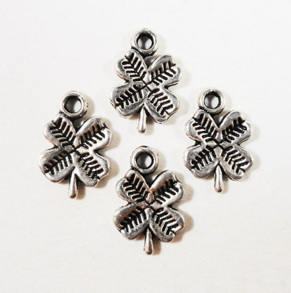 Four Leaf Clover Charms 12x8mm Antique Silver Shamrock Charms, Tiny 4 Leaf Clover Pendants, Lucky Charms, St. Patrick's Day Charms, 15pcs