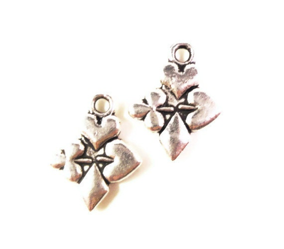 Silver Poker Charms 16x13mm Antique Silver Tone Metal Spades Hearts Clubs Diamonds Casino Card Charm Pendant Jewelry Findings 10pcs