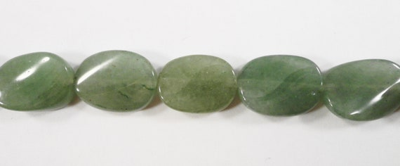 "Green Aventurine Beads 11x15mm Twisted Oval Gemstone Beads, Natural Green Stone Beads for Jewelry Making on a 7 1/2"" Strand with 12 Beads"