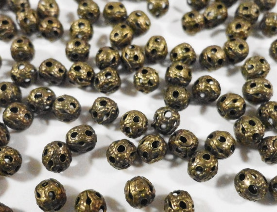 Bronze Metal Beads 4mm Round Lightweight Small Antique Brass Hollow Filigree Spacer Beads for Crafts and Jewelry Making 100 Loose Beads
