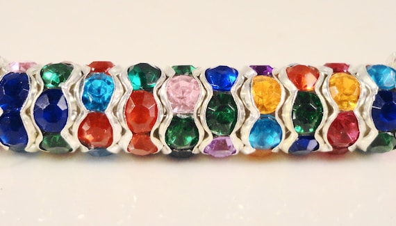 Rhinestone Rondelle Spacer Beads 8mm Multicolor Silver Metal Plated Acrylic Rhinestone Beads for Jewelry Making 45 Loose Beads per Pack