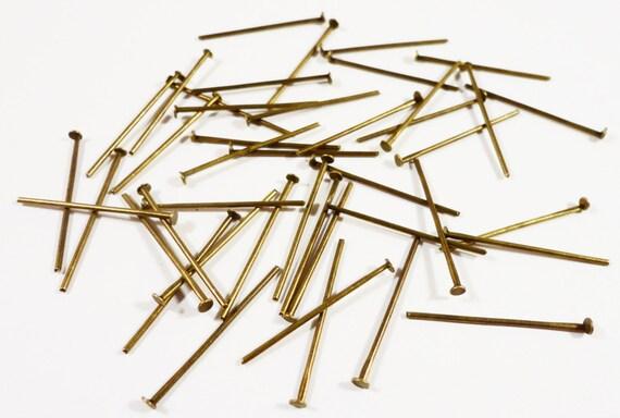 Bronze Head Pins 22mm Antique Brass Head Pins, 25 Gauge Bronze Headpins, Flat Head Pins, Jewelry Findings, Beading Supplies, 100pcs per Pack