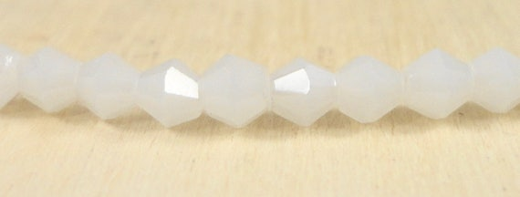 3mm Crystal Beads, Frosted White Crystal Beads, Frosted Milky White Bicone Beads, Tiny Faceted Chinese Crystal Glass Beads, 100 Loose Beads
