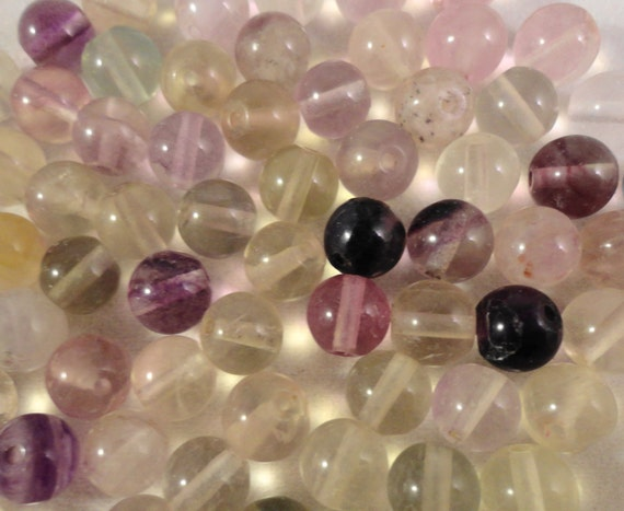 Fluorite Gemstone Beads 6mm Round Fluorite Beads, Natural Multicolor Stone Beads for Jewelry Making on a 7 1/2 Inch Strand with 33 Beads