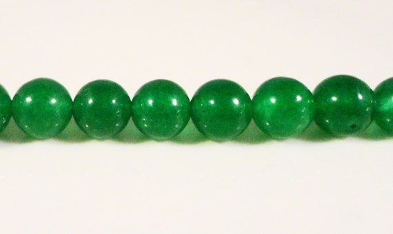 Green Jade Beads 6mm Round Dyed Candy Jade Gemstone Beads Semiprecious Stone Beads for Jewelry Making on a 7 1/4 Inch Strand with 30 Beads