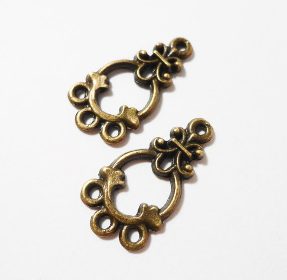 Chandelier Earring Findings 21x11mm Antique Brass Metal (Bronze) 1 to 3 Earring Connectors, Connector Charms, Bohemian Jewelry Findings 6pcs