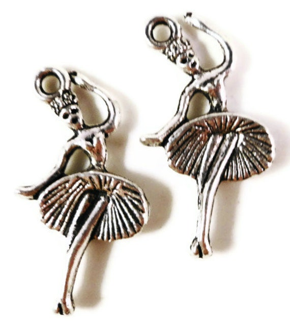 Silver Ballerina Charms 25x13mm Antique Silver Tone Metal Ballet Dancer Charm Pendant Lead Free Jewelry Making Findings 10pcs