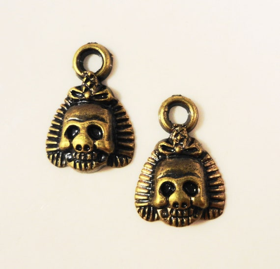 Bronze Skull Charms 17x12mm Antique Brass Tone Metal Plated Acrylic Lightweight Skeleton Charm Pendant Jewelry Findings 12pcs