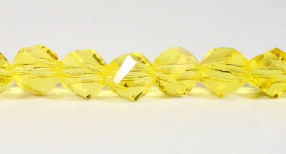 """Helix Crystal Beads 6mm Lemon Yellow Faceted Twisted Crystal Beads, Chinese Crystal Glass Beads on a 7 1/4"""" Strand with 33 Beads"""