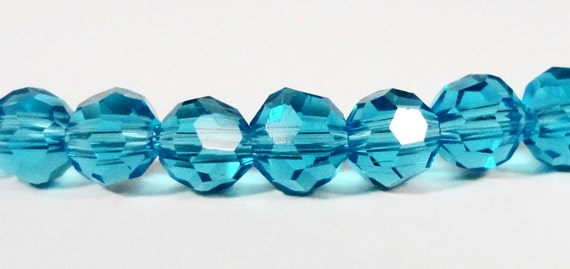 Blue Crystal Beads 4mm Round Aqua Blue Small Faceted Chinese Crystal Glass Beads for Jewelry Making 100 Loose Beads per Pack