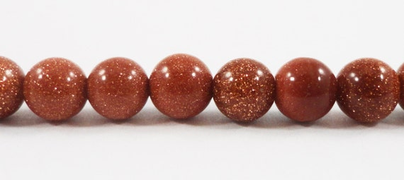 """Full Strand Brown Goldstone Beads 5-6mm Round Goldstone Beads, Sparkly Beads, Brown Beads, Faux Stone Beads on a 14"""" Strand with 65 Beads"""